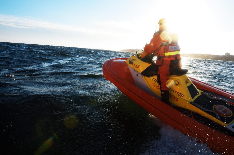 Svenska Sjöräddningssällskapet on one of their 59 RescueRunner crafts.